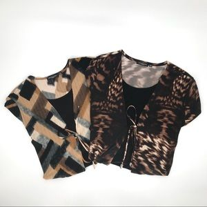 Set of 2 Notations woman 2X tops / brown & black